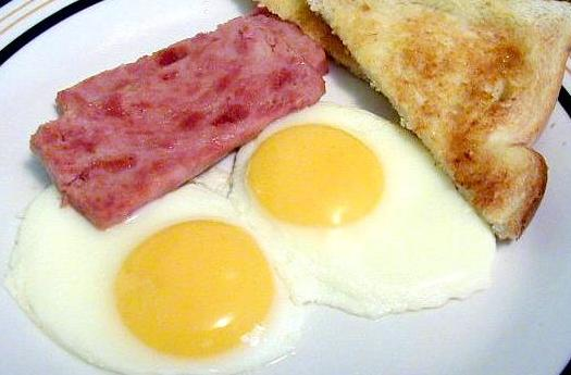 Breakfast eggs with ham